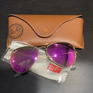 Ray Ban Pink Aviator Glasses